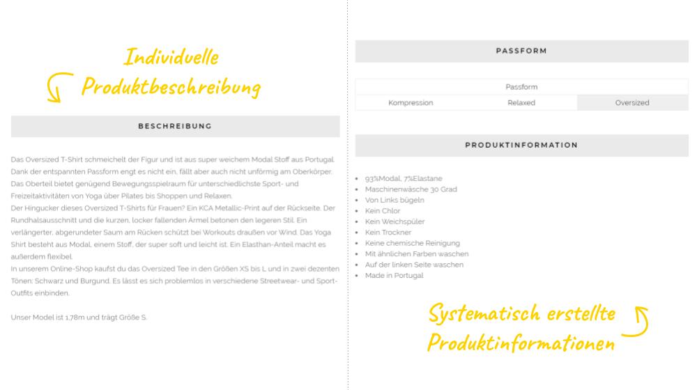 Beispiel für Produktinformationen in einem Fashion Onlineshop