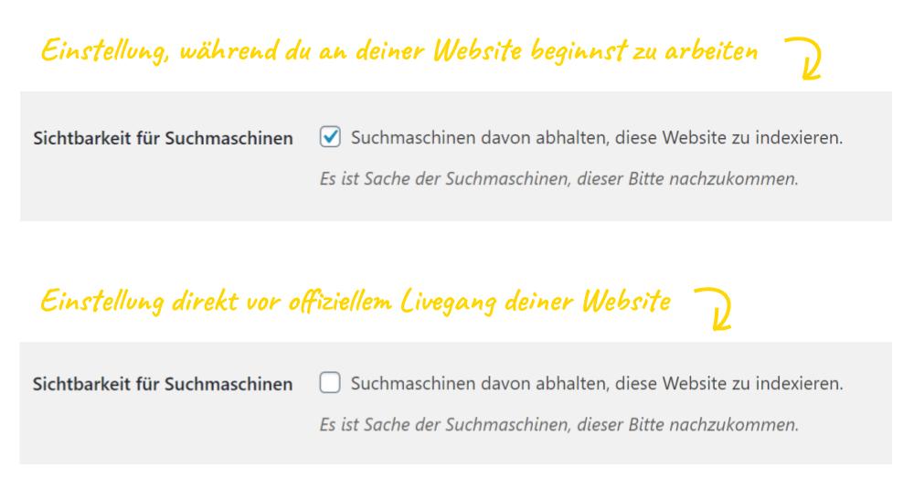 WordPress Sichtbarkeit für Suchmaschinen